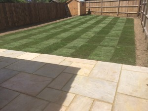 Flagstone patio and garden