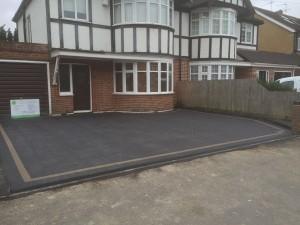 Newly installed slate driveway