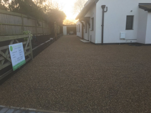 Extensive gravel driveway