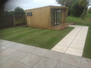 Groundwork and lawn around custom garden shed